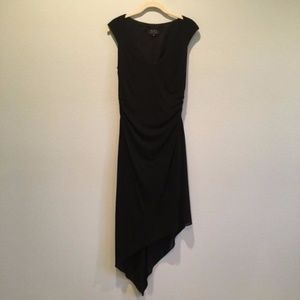 David Meister High Low Black V Neck Dress